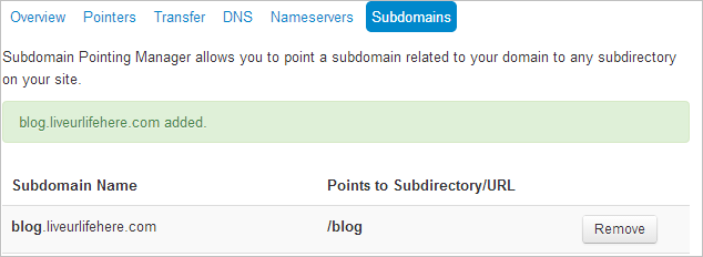 how to make subdomain in ipage done