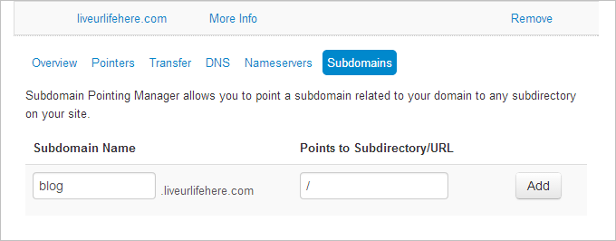 how to make subdomain in ipage