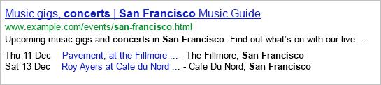 markup event for google search